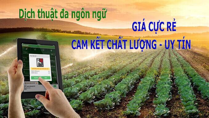 Địa chỉ dịch thuật tiếng anh chuyên ngành nông nghiệp