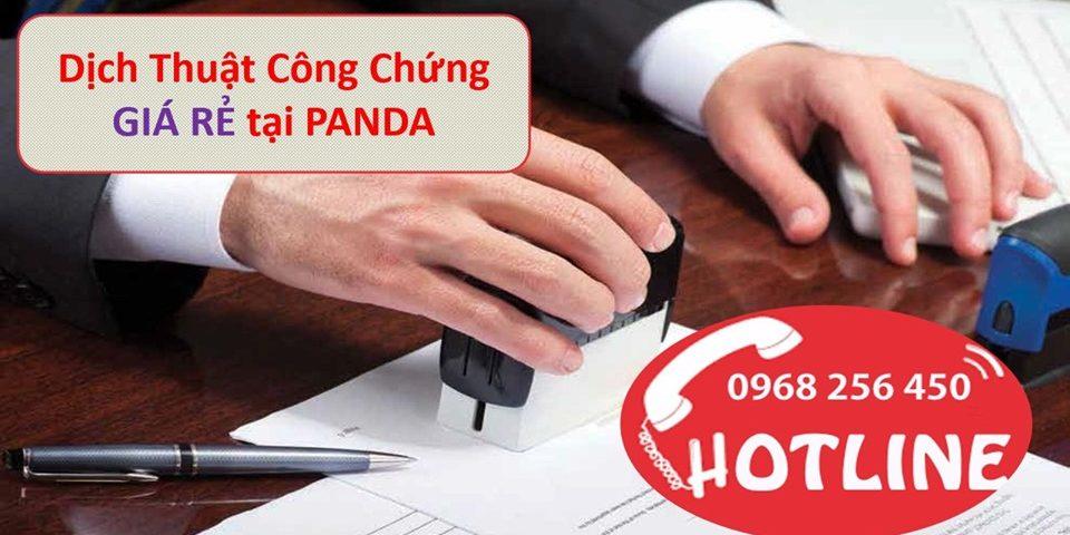 Văn phòng công chứng dịch thuật giá rẻ Panda