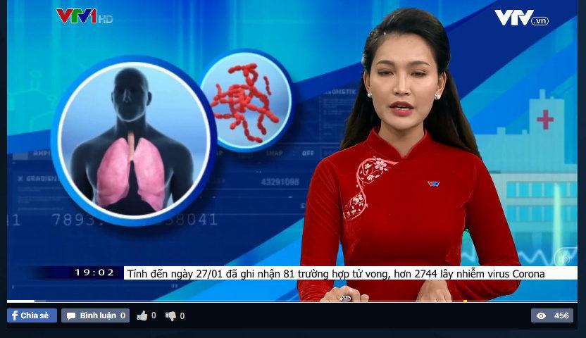 VTV1 đưa tin hơn 2700 ca nhiễm virus Corona